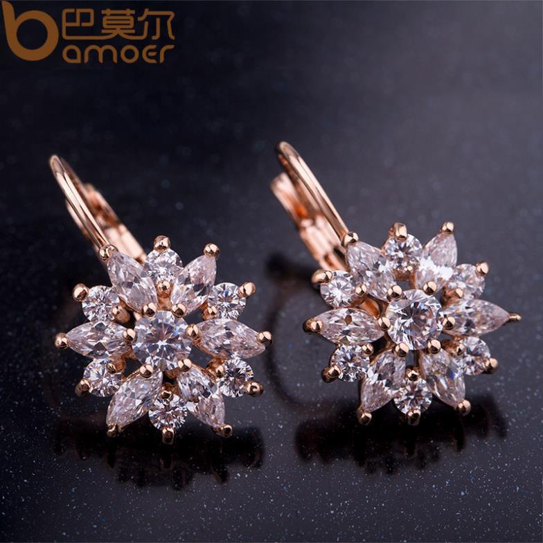 BAMOER 3 Colors Luxury Gold Color Flower Stud Earrings with Zircon ...