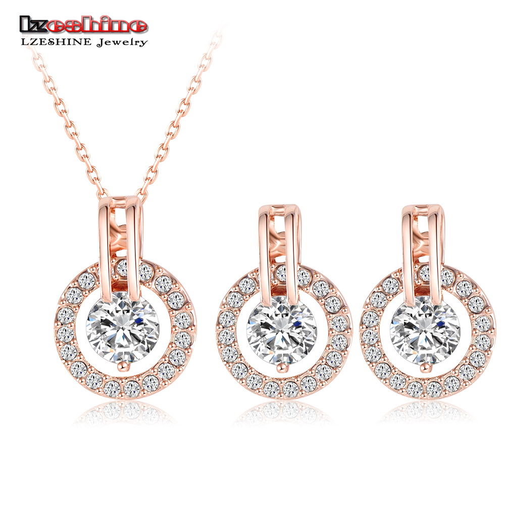 Lzeshine New 2016 Big Sale Wedding Jewelry Sets Rose Gold Color