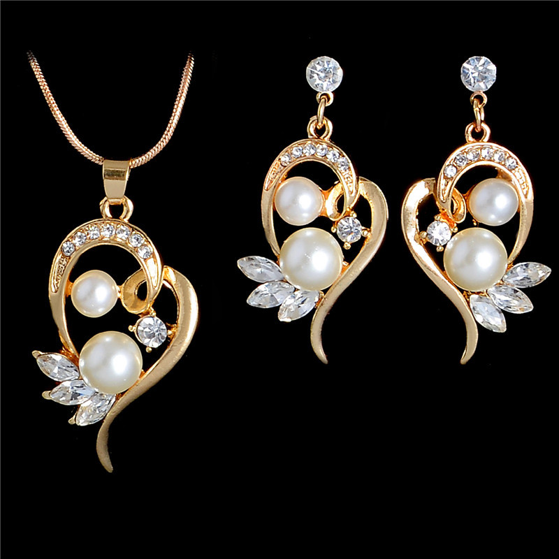 Golden Wedding Fashion Women Flower Crystal Necklace Earrings Jewelry Set