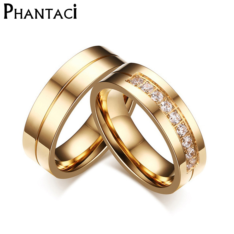 c76ecc11a9 6MM Stainless Steel Wedding Ring For Lovers IP Gold Color Crystal CZ Couple  Rings Set Men Women Engagement Wedding Rings