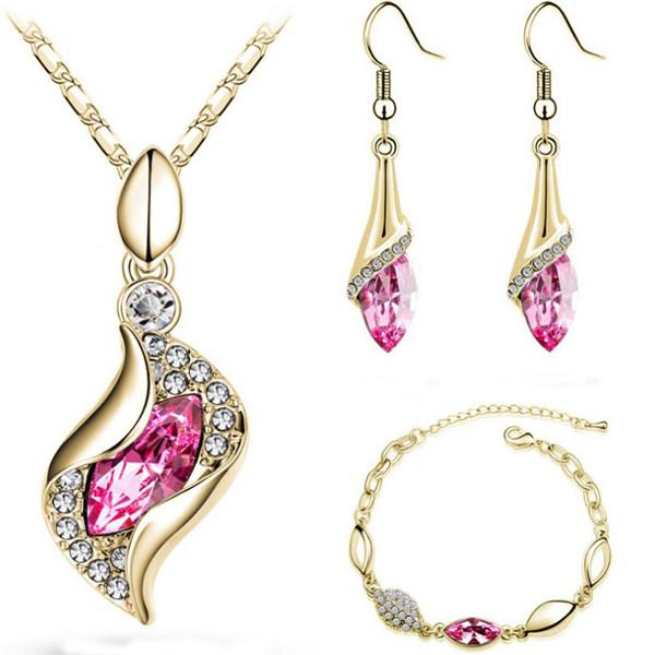 22d646f9d4 SHUANGR Elegant Water Drop Jewelry Sets Gold-Color Austrian Crystal  Necklace Bracelets For Woman Wedding Set Parure Bijoux Femme