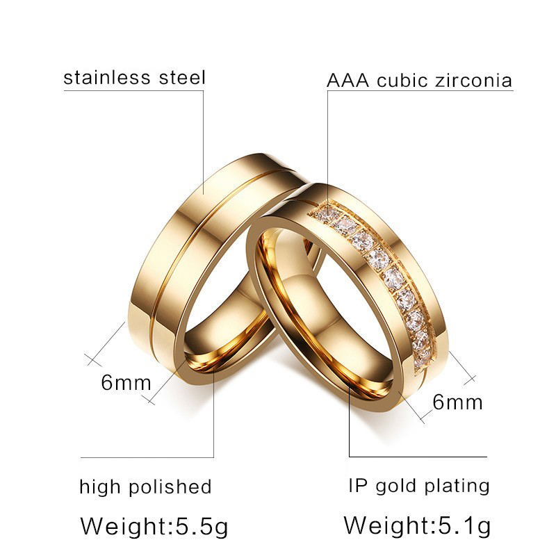 6MM Stainless Steel Wedding Ring For Lovers IP Gold Color Crystal CZ