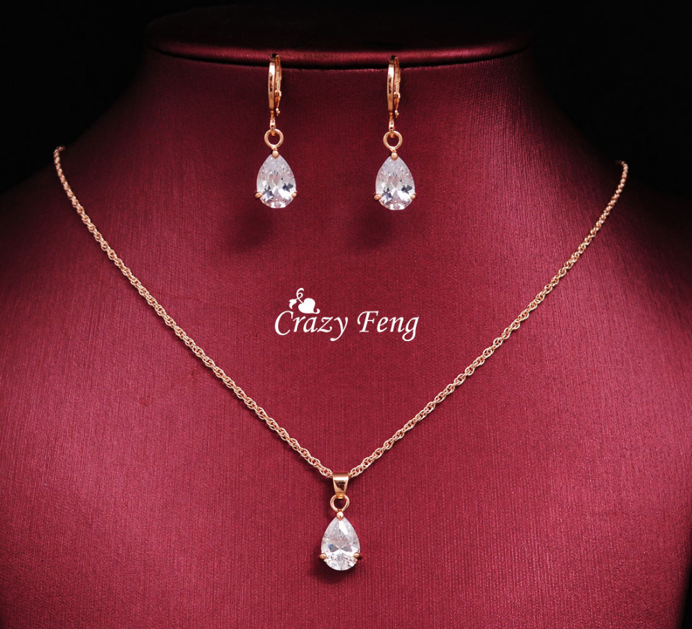 Trendy Free Shipping Wedding Jewelry Sets Necklace Earrings Rose