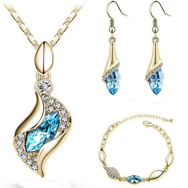 SHUANGR Elegant Water Drop Jewelry Sets Gold-Color Austrian Crystal Necklace  ... 6e44f72a95d8
