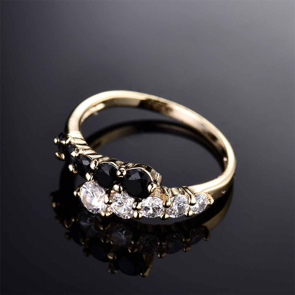 MOLIAM Fashion Classic Rings for Women Gold-Color White & Black ...
