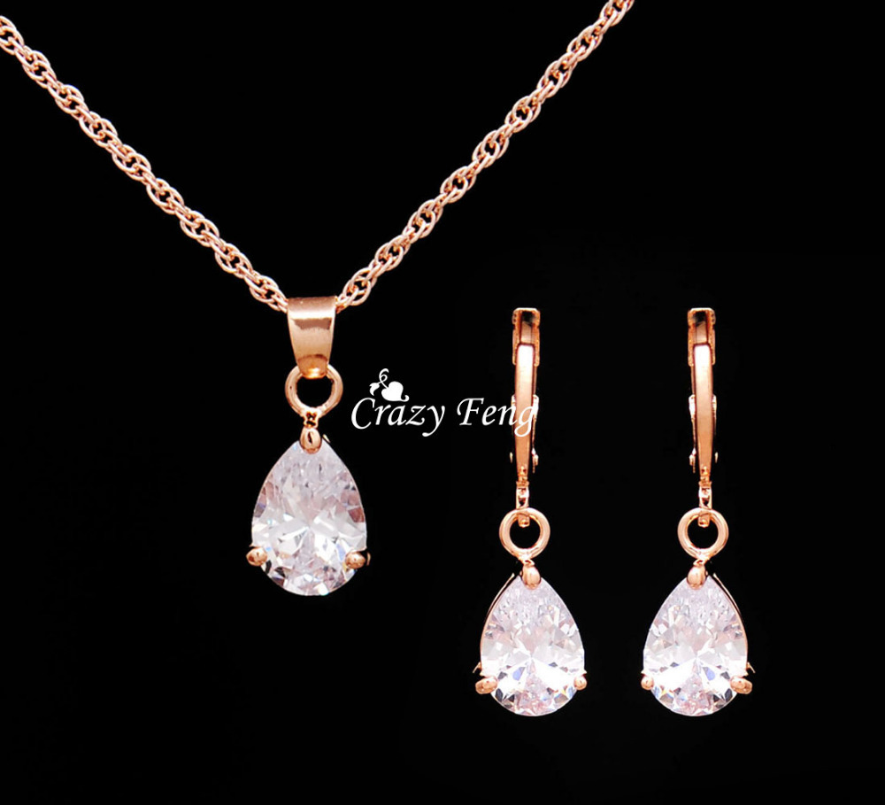472869a6a6e Trendy Free Shipping Wedding Jewelry Sets Necklace Earrings Rose Gold Color  Women ...