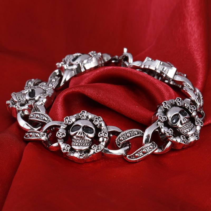 Fashion Punk Skull Stainless Steel Charm bracelet for Women DIY Bracelets /&